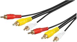 Goobay 50310 Composite Audio Video Anschlusskabel, 3x Cinch mit RG59 Videoleitung, 3x Cinch Stecker > 3x Cinch Stecker