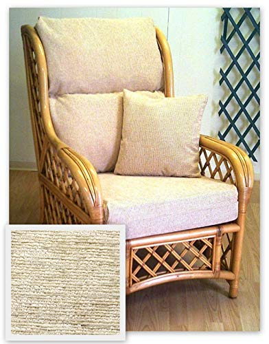 Zippy UK New Replacement Cushion Covers - CREAM CHENILLE - for Cane Wicker Rattan Conservatory and Garden Furniture