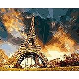 Pintura por números,Torre Eiffel al atardecer Decoración del hogar del artista de la pintura al óleo de la lona preimpresa de bricolaje Inicio 40x50cm (Rainbow Pony).