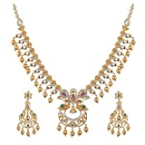 Tarinika Tanu Gold-Plated Indian Jewelry Set with Necklace and Earrings - White Red Green