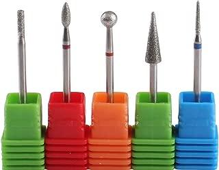 MZCMSL 5pcs Diamond Cuticle Drill Bits,Russian Manicure Drill Bits,3/32 Shank Cuticle Remover Bit Kit