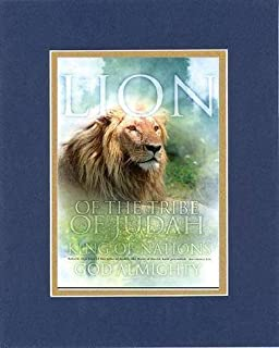 Lion of the Tribe of Judah King of Nations God Almighty - Revelation 5:5. . . 8 x 10 Inches Biblical/Religious Verses set in Double Beveled Matting (Blue On Gold) - A Timeless and Priceless Poetry Keepsake Collection