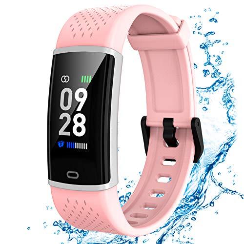 Jogfit Fitness Armband mit Pulsmesser Wasserdicht IP67, Fitness Tracker Smartwatch Schlafmonitor Aktivitätstracker Schrittzähler Pulsuhren Sport Uhr für Damen Herren Kinder Anruf SMS Beachten
