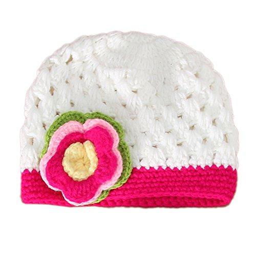 CHIC-CHIC Tricot Bébé Fille Garçon Photographie Chapeau Bonnet Fleur Prop Bandeau Serre-tête (Blanc)
