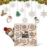 guansheng Decorazioni Natalizie in Legno,32 Pezzi Decorazioni Albero di Natale in Legno Tronchi Legno Decorativi decoupage addobbi di Natale Ornamenti di Natale Decorazioni targhette Pendenti