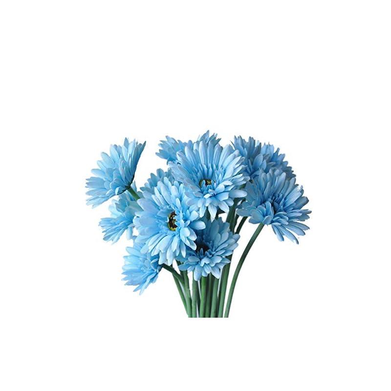 silk flower arrangements cn-knight artificial flower 12pcs 22'' long stem silk daisy faux mums flower chrysanth gerbera for wedding bridal bouquet bridesmaid home decor office baby shower prom centerpiece(blue)