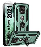 【3 Items】 Bonkier Moto G Power 2021 Case with 2 x Tempered Glass Screen Protector, Military Grade Heavy Duty Protection Phone Case with Ring Holder Kickstand for Motorola Moto G Power 2021 (Green)