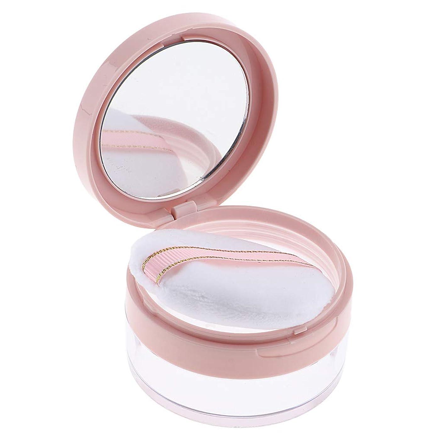 強制的スキー愛国的なF Fityle パウダーケース 化粧品 ジャー 鏡 パフ 2色選べ - ピンク