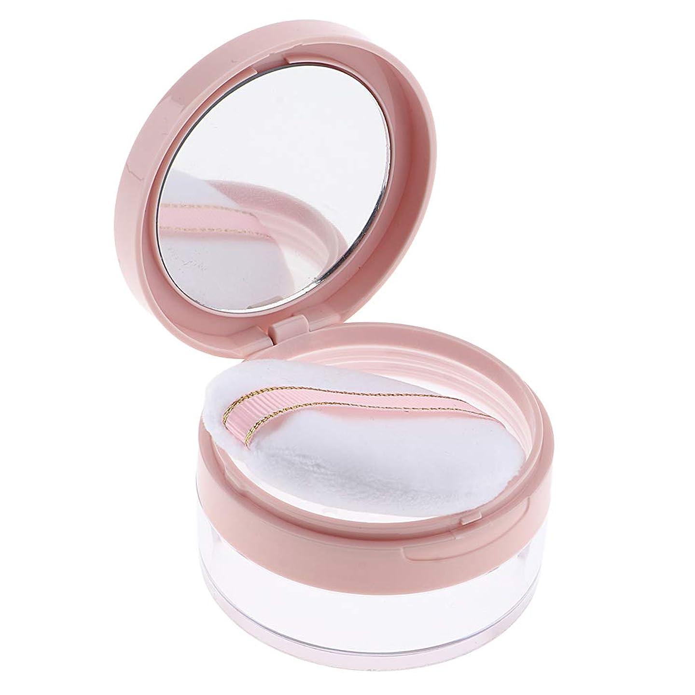 ルール拒否合併症F Fityle パウダーケース 化粧品 ジャー 鏡 パフ 2色選べ - ピンク