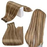 Runature Tressen Echthaar 14 Zoll 35Cm Farbe 10 Blond Gemischt Mit Farbe 16 Goldene Blondine (100g) Glattes Haar Hair Weave Bundles