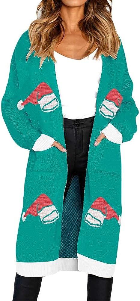Women's Knitted Christmas Hat Print Long Sleeve Cardigan T-Shirt Sweater Coat