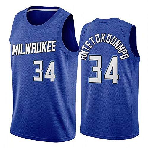 Camisetas De Baloncesto para Hombre, NBA Bucks 34# Giannis Antetokounmpo City Edition Jersey, Camiseta Deportiva De Fitness Y Uniforme Resistente Al Desgaste,Azul,M