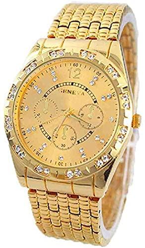 JZDH Mano Reloj Reloj Reloj Reloj Reloj Reloj de Metal Reloj Masculino Reloj de Cuarzo Reloj de Pulsera Relojes Decorativos Casuales (Color : Gold)