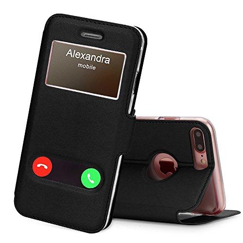 FYY Funda iPhone 8 Plus, Funda iPhone 7 Plus, De Soporte Magnetico en la Parte Cubierta y Funcion de Ventana con Vista a Pantalla Superior para Apple iPhone 8 Plus/iPhone 7 Plus Negro