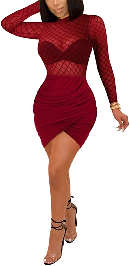 OLUOLIN Women's 2 Piece Outfits Skirt Hollow Out See Through Long Sleeve Top Bodycon Irregular Pleated Ruffle Dress