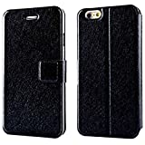 Case Compatible with iPhone 7 / iPhone 8 Wallet Case -Silk Pattern Slim Flip Case with ID, Credit Card Holder, for Women & Men, Faux Leather Cases with Magnetic Closure-Black
