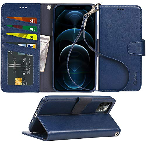 Arae Compatible with iPhone 12 Pro Max Case Wallet Flip Cover with Card Holder and Wrist Strap - Blue