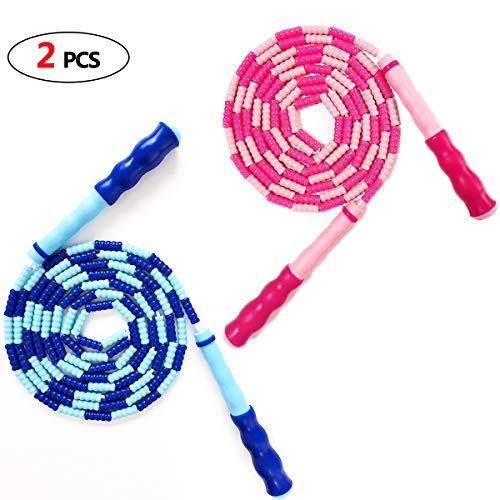 JAWENJOY Jump Rope Soft Beaded Tangle-Free Segmented Length Adjustable Skipping Rope for Men Women and Kids Ideal for Keeping Fit, Training, Workout and Weight Loss - 9.8 Feet 2PCS(Blue&Pink)