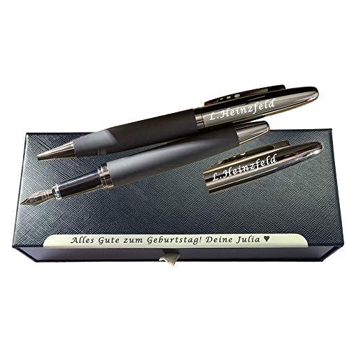 Juwelier Schönschmied - Schreibset BLACK ELEGANCE mit Gravur Füller mit Gravur schwarze Geschenkbox mit Schublade & Schmuckkante - Gun-Metall-Optik mit gummierter Griffzone Schreibset 7 PS7