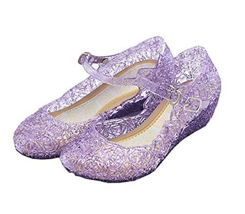 CQDY Blue Girl's Princess Shoes Belle Rapunzel Cinderella Elsa Frozen Toddler Cosplay Dancing Show Shoes (Toddler/Little Kid)