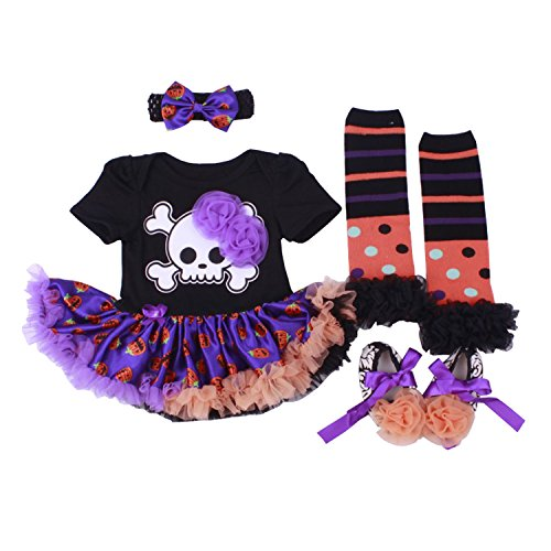 BabyPreg Mi Primer Traje de Halloween para niña Infantil Disfraz de Acción de Gracias Conjunto de Vestido de Calabaza para bebé (6-9 Meses, Esqueleto)