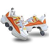 TWFJEL Patines de Ruedas Zapatos Invisible De Polea Zapatos Multiusos 2 En 1 Zapatillas Ideales para Principiantes para niños y niñas
