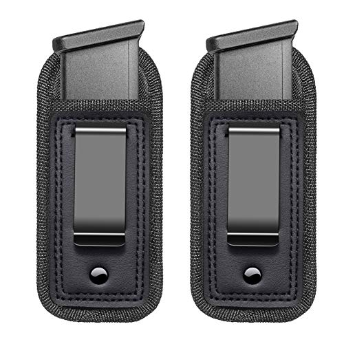 2-Pack Universal IWB Magazine Holster Concealed Carry 9mm .40 .45 | Inside The Waistband Mag Pouch | Mag Holster for Glock 43 17 Sig 1911 S&W M&P | Fits Any 7 10 15 Round Clips for All Pistols