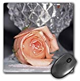 3dRose LLC 8 x 8 x 0.25 Inches Mouse Pad, Peach Rose with Crystal Vase (mp_11583_1)