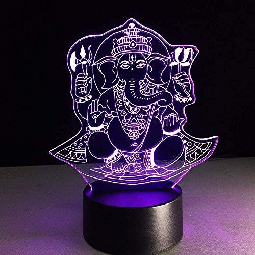 YOUPING 7 colores cambiantes 3D LED de la visión de la luz del sueño del bebé decoración de la noche de la luz de la cabeza del elefante de la lámpara de di