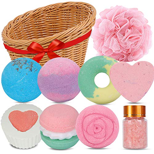 Bath Bombs, Bath Basket Gift Set OrganicBath Bombs Bubble Bath Bombs Set for Home Fizzy SPA and MoisturizeDrySkin, Gift for Women, Perfect Mother's Day, Birthday, Anniversary, Thanks Giving Day