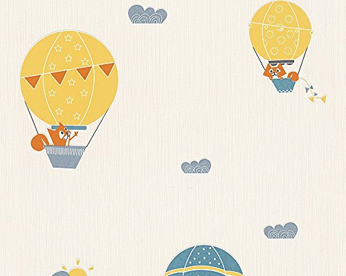 Esprit Kids Vliestapete Flying Balloon Kinderzimmer Tapete blau creme orange 302952