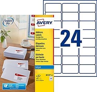 AVERY - Pochette de 240 étiquettes autocollantes ''Montimbrenligne'', Personnalisables et imprimables, Format 63,5 x 33,9 ...