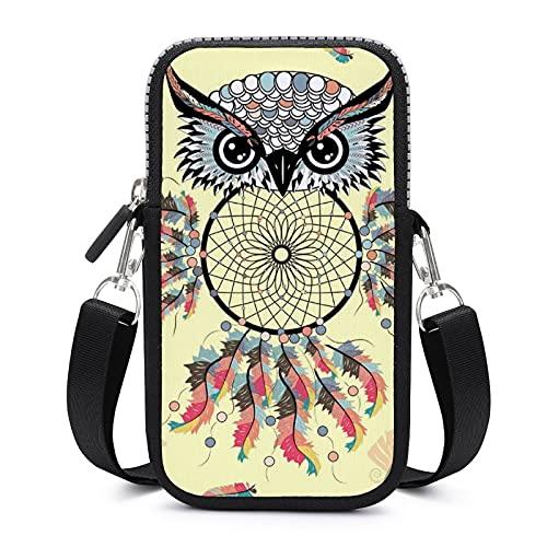 Bolso bandolera para teléfono móvil con correa de hombro extraíble, diseño de búho, atrapasueños, a prueba de sudor, bolsa para llaves, pulsera de yoga, unisex