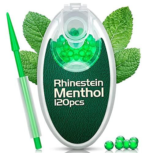 Rhinestein Menthol Kugeln 120er Aroma Kapseln für Zigaretten mit Filterstab Aromatische Explosion Perlen Kugel Kapsel Flavor Ball mit DIY Zigarette Klickfilter (Menthol, 120)
