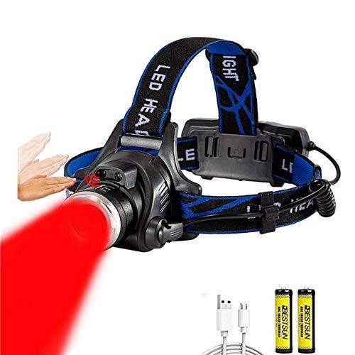 Lampade da Testa LED Rossa, Induzione Zoomable 3 Modalità Torcia Frontale Regolabile Impermeabile Lampada Frontale per Escursioni, Campeggio,Ciclismo,Corsa, Speleologia, Pesca