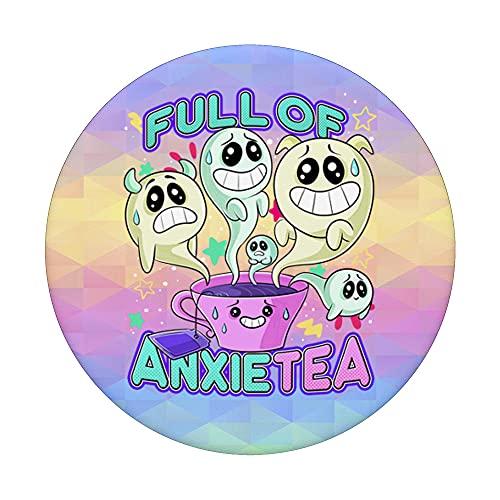 Linda taza de té llena de ansiedad Anxietea Pastel Goth PopSockets PopGrip Intercambiable