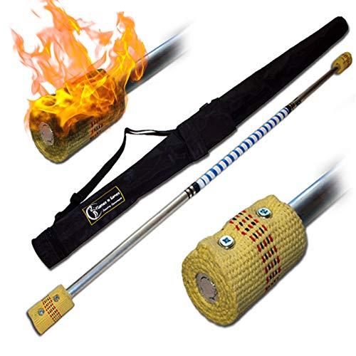 Pro Bâton de Feu (120cm/2x65mm Meche) + Flames N Games Sac de Voyage! Staff de Feu AKA Fire Staff Inflammable Professionnel Bâtons Indien, Medium Flammes!
