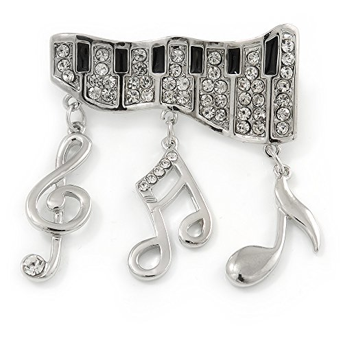 Avalaya Silver Plated Clear Crystal Music Keyboard with Dangling Music Notes Brooch - 40mm W