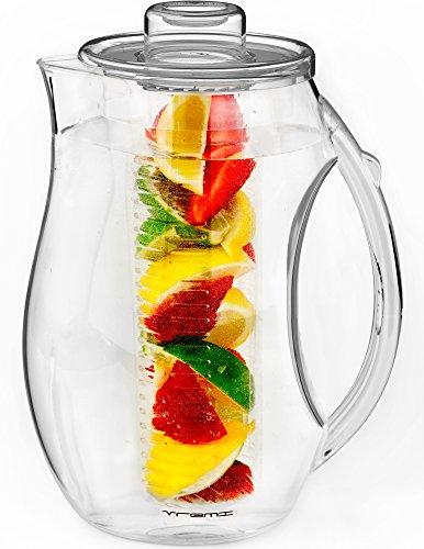 Vremi Jarra para Infusion de Agua y fruta - Jarra para infusión de plástico de 2,5 litros con tapa para el té de hoja suelta - Jarra Grande para infusión libre de BPA con pico