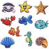 Pinsheng 10 pcs Anti-Rutsch Sticker Badewanne Sticker Meerestiere Form selbstklebend für Badewanne Dusche Bad Kinder