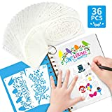 Confezione da 36 stencil per scrapbooking, riutilizzabili, per scultura, lettere dell'alfabeto, accessori...