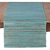 SARO LIFESTYLE 217.TQ1672B Melaya Collection Nubby Texture Woven Table Runner, 16' x 72', Turquoise