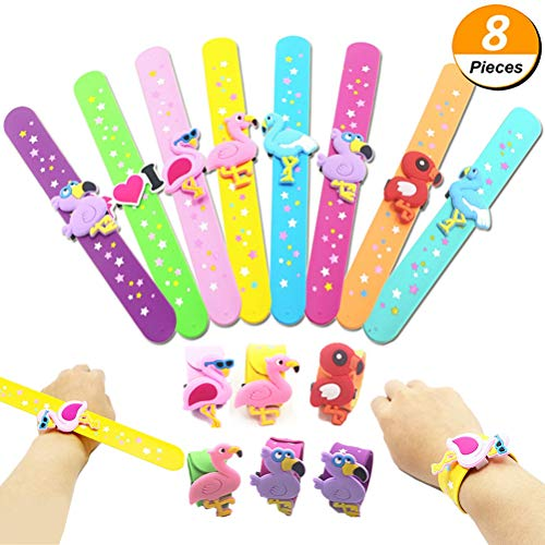 Poluka 8 Stück Flamingo Slap Armbänder Cartoon Tier Silikon Armbänder Neuheit Spielzeug Schule Preis Geschenk Kinder Kinder Geburtstag Party Geschenke