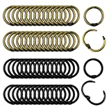 60PCS Loose Leaf Binder Rings, Premium Book Rings Book Binder Hinged Buckle Rings (Inner Diameter 1inch), Nickel Plated Metal Rings for Office School Home, Bronze and Black