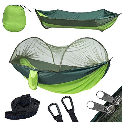 yoomo Camping Hammock with Mosquito Net & Tree Straps Lightweight Parachute Fabric Travel Bed for Hiking, Backpacking, Backyard. (Green)