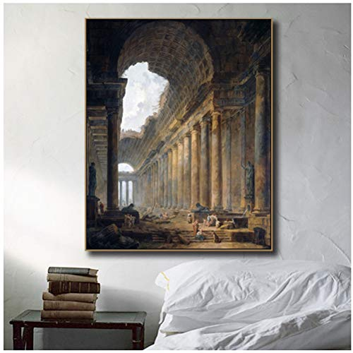Empty Canvas Wall Art Old Temple by Hubert Robert Painting Classic Art Prints Famous Artwork for Home Office Decor-24X32 Inchx1 Frameless