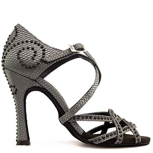 Manuel Reina - Zapatos de Baile Latino Mujer Salsa Competition 01 Black Party - Bailar Bachata, Salsa, Kizomba (37 EU, Tacón: 5.5)
