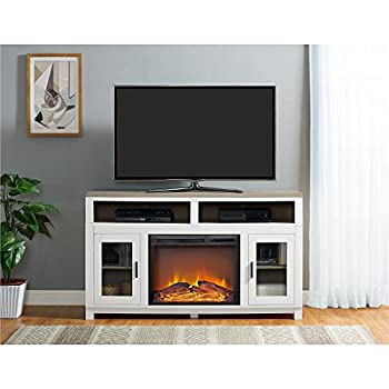 Ameriwood Home Carver Electric Fireplace TV Stand for TVs up to 60  Wide White