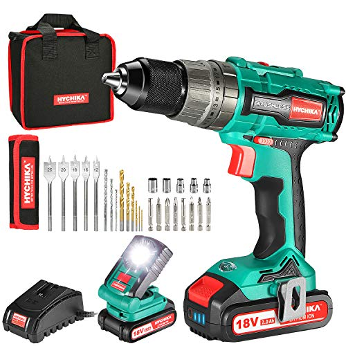 Brushless Drill 18V, HYCHIKA 60N·m Cordless Hammer Drill with 2x2000mAh Batteries, 21+3 Clutch, 2 Variable Speeds, 27PCS Accessories, LED Light, 1H Fast Charger and Storage Bag