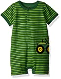 John Deere Baby Boys Romper, Green Stripe, 9/12 Month